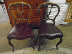 set of 5 balloon back chairs with red leather seats