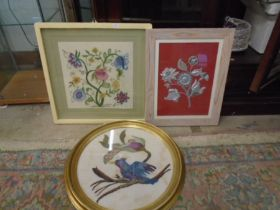 3 framed embroidered/tapestry pictures, largest 49 x 49 cm