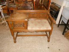 Old charm oak telephone seat