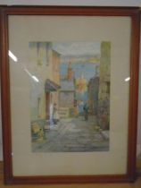 F. Parr watercolour of St. Ives, cornwal, by this west country artist