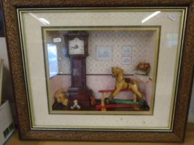 """Boxed framed rocking horse scene picture 24x21"""""""