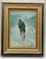 Street scene oil on board in gilt frame initialled bottom right R.G.N depicting man on bike in wet