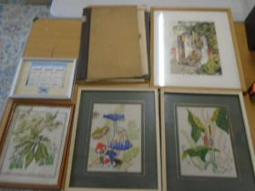 a portfolio of prints and watercolours plus 2 embroided picture of mushrooms