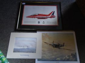 Red Arrow aircraft print framed and signed plus 2 unframed aircraft prints
