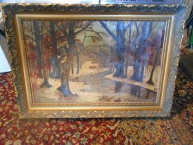 Oil on canvas depicting trees 74cm x 52cm signed