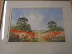 Austin R Pearce watercolour of poppies, Angela Fielder limited edition print 72/250 'Poppies on
