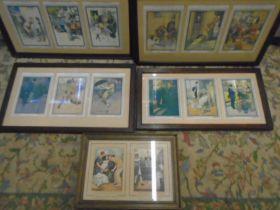 set of framed comical prints