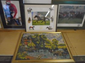 3 Horse racing prints and a tapestry