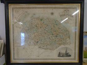 """Norfolk map, framed 34x30"""""""
