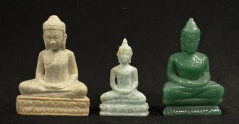 Three various Oriental hard stone Buddha figurines