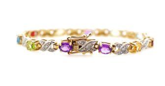 Multi gemstone and yellow gold bracelet