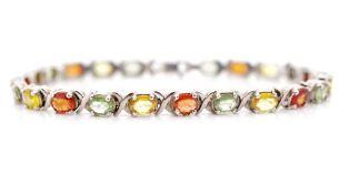 Multi colour sapphire and silver bracelet
