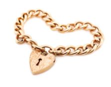 Vintage 9ct rose gold curb link bracelet and