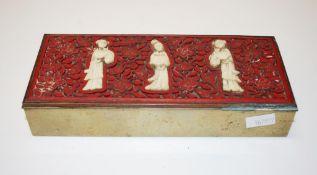 Chinese carved cinnabar & bone brass box