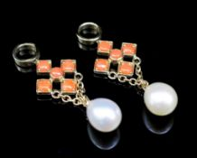 Coral and pearl set 9ct yellow gold earring