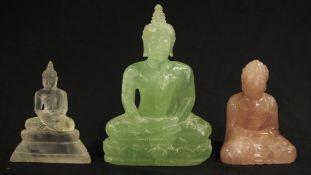 Three various Chinese hard stone Buddha figurines
