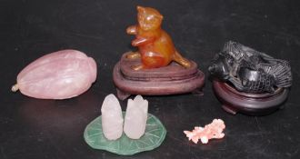 Four Chinese hard stone ornaments