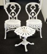Cast aluminium table and 2 chairs