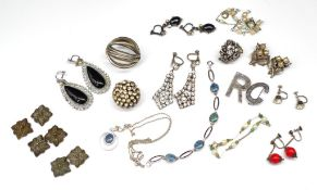 Silver and costume jewellery group