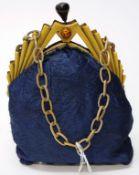 Good art deco bakelite handle silk evening bag