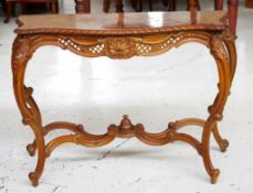 Antique style walnut console table