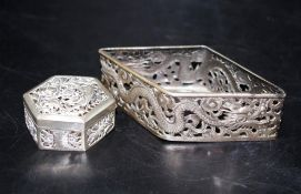 Chinese pierced silver base
