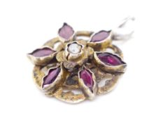 Georgian silver gilt and almandine garnet pendant