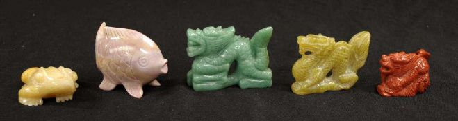 Five various Chinese hardstone figurines