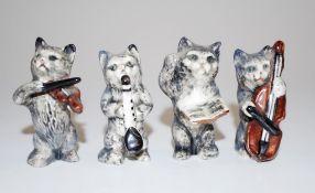 Four Wade ceramic Cat Musician miniature figures