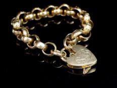 9ct yellow gold fancy belcher link bracelet