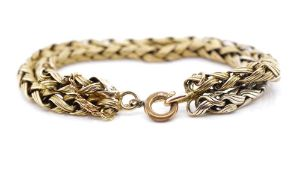 Yellow gold double row chain bracelet
