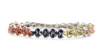 Mutli colour sapphire and silver bracelet