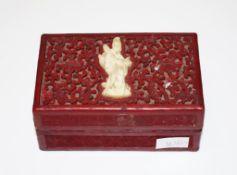 Early Chinese cinnabar and bone trinket box