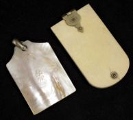 Two various antique ivory Aides Memoire
