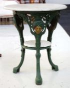 Cast iron and marble 2 tier table