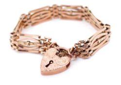 Antique 9ct rose gold fancy gatelink bracelet