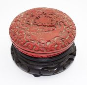 Chinese Cinnabar lidded trinket box