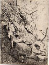 Rembrandt Harmensz. van Rijn: Die kleine Löwenjagd (mit einem Löwen)