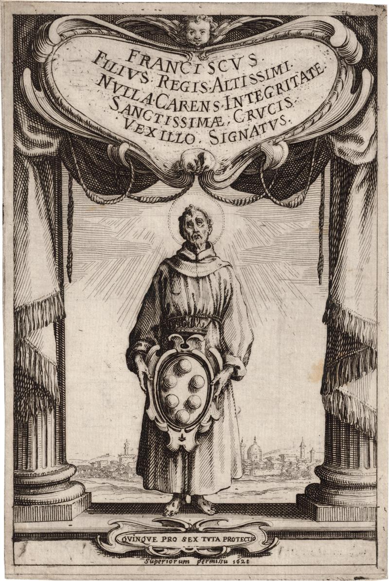 Callot, Jacques: Der hl. Franziskus von Assisi, das Wappen der Medici in ...