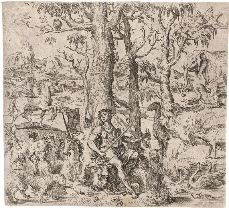 Italienisch: um 1600. Orpheus, inmitten wilder Tiere, die Leier spiel...