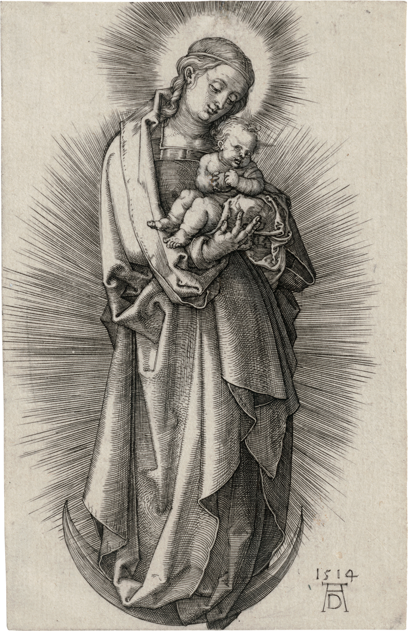 Dürer, Albrecht: Jungfrau mit Haarband und Strahlenkranz auf der Mondsich...