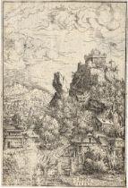 Lautensack, Hanns: Landschaft mit einer Burg auf einem Felsen