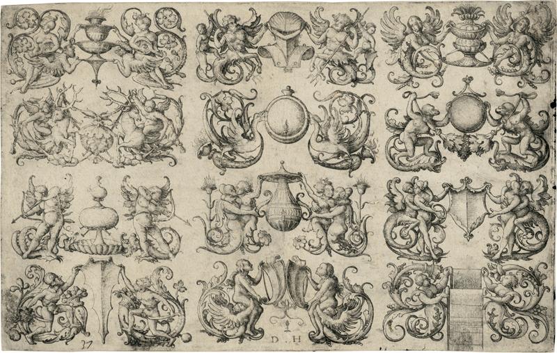 Hopfer, Daniel: Zwölf ornamentale Entwürfe für Waschbecken, Spiegel usw....