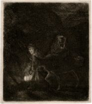 Rembrandt Harmensz. van Rijn: Die Flucht nach Ägypten, Nachtstück