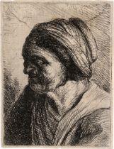 Rembrandt Harmensz. van Rijn - Schu...: Brustbildnis einer alten Frau nach links
