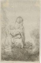 Rembrandt Harmensz. van Rijn: Maria mit dem Christkinde in den Wolken