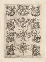 Hopfer, Daniel: Zwölf ornamentale Grotesken mit Putten und Tritone
