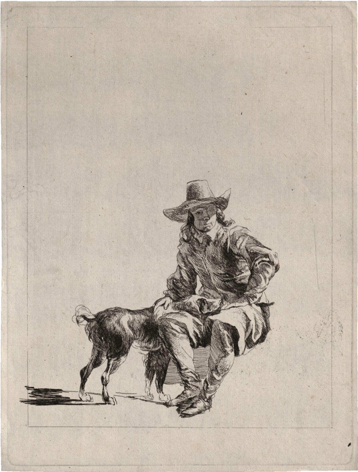 Berchem, Nicolaes: Ein ruhender Wanderer mit Hund