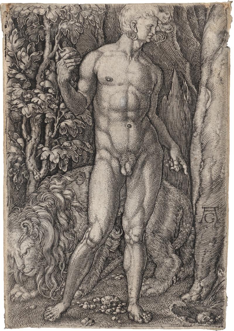 Aldegrever, Heinrich: Adam mit dem Löwen: Eva mit der Hirschkuh - Image 2 of 2
