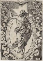 Beham, Hans Sebald: Christus auf der Weltkugel